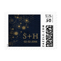 blue gold  Snowflakes Winter personalized stamps