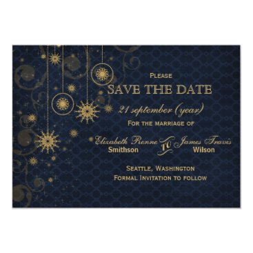 blue gold Snowflakes Winter  save the date Card