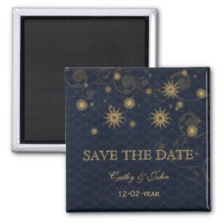 blue gold Snowflakes Winter save the Date Magnet