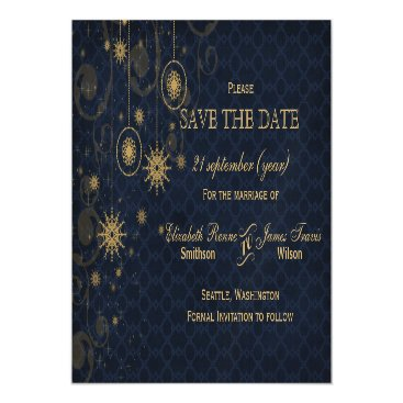 blue gold Snowflakes Winter save the date Magnetic Card
