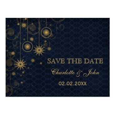 blue gold Snowflakes Winter save the Date Postcard
