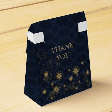 blue gold Snowflakes Winter wedding favor box