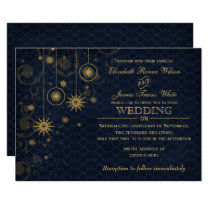 blue gold Snowflakes Winter wedding invitations