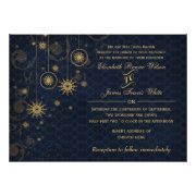 blue gold Snowflakes Winter wedding invites by mgdezigns