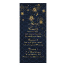 blue gold Snowflakes Winter wedding menu cards