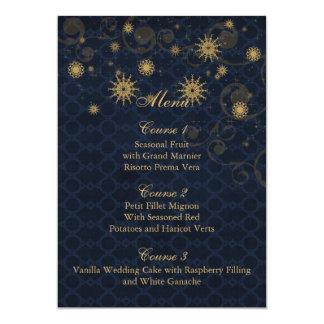 blue gold Snowflakes Winter wedding menu cards