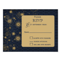 blue gold Snowflakes Winter wedding RSVP Card