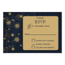 blue gold Snowflakes Winter wedding RSVP Card