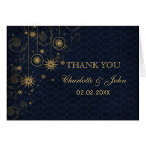 blue gold Snowflakes Winter wedding Thank You Card