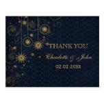 blue gold Snowflakes Winter wedding Thank You Postcard
