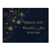 blue gold Snowflakes Winter wedding Thank You Postcard