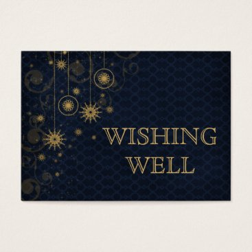 blue gold Snowflakes Winter wedding wishing well Business Card