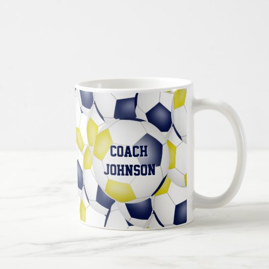 blue gold soccer school team colors coach gift coffee mug