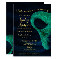 Blue Gold Sparkle Mermaid Baby Shower Card