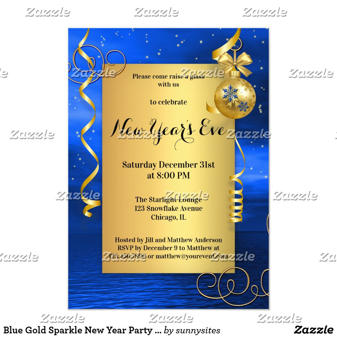 Blue Gold Sparkle New Year Party Invitation