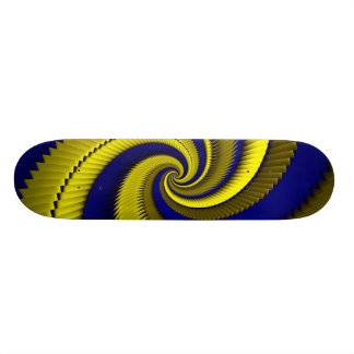 Blue Gold Spiral Dragon Scales Skateboard Deck