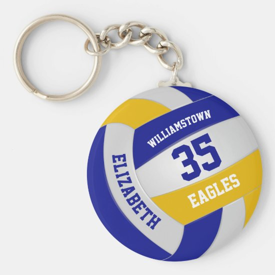 blue gold sports team colors volleyball keychain