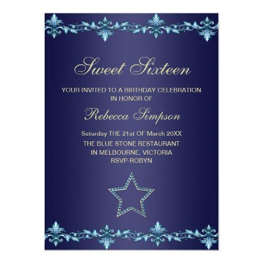Blue & Gold Star Birthday Invitation