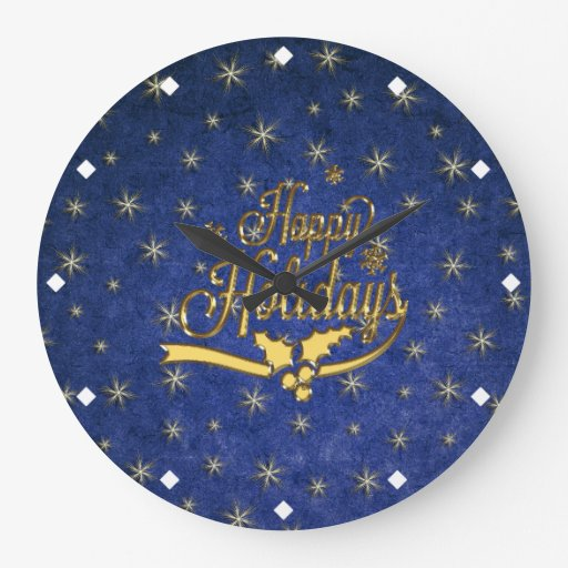 Blue Gold Star Happy Holidays Wall Clock