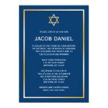 "Blue Gold Star of David Bar Mitzvah Invitations 5"" X 7"" Invitation Card"