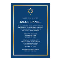 Blue Gold Star of David Bar Mitzvah Invitations