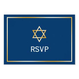 Blue Gold Star of David Bar Mitzvah RSVP 3.5x5 Paper Invitation Card
