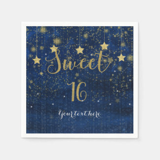 Blue & Gold Starry Celestial Sky Sweet 16 Party Paper Napkin