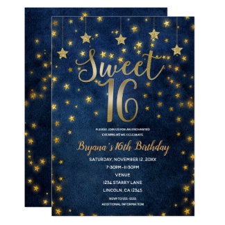 Blue & Gold Stars Celestial Sky Sweet 16 Party Card