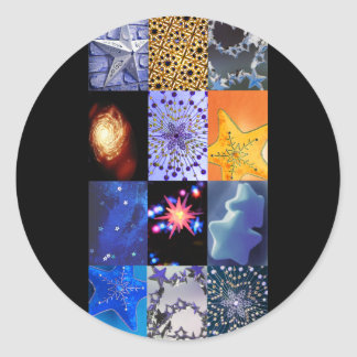 Blue & Gold Stars Photos Collage Classic Round Sticker