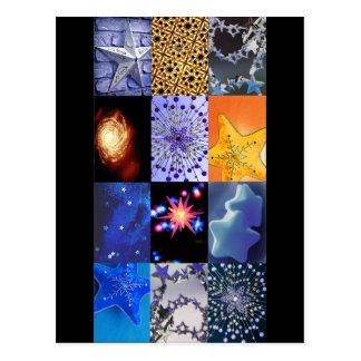 Blue & Gold Stars Photos Collage Postcard