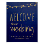 Blue Gold String Of Lights Welcome Wedding Sign