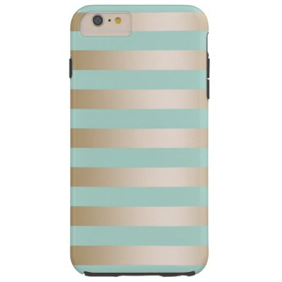 Blue Gold Stripes barely there Iphone 6 plus case