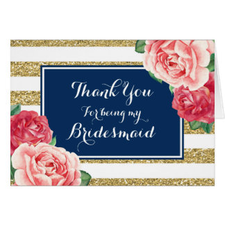 Blue Gold Stripes Pink Floral Thanks Bridesmaid Card