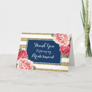 Blue Gold Stripes Pink Floral Thanks Bridesmaid Thank You Card