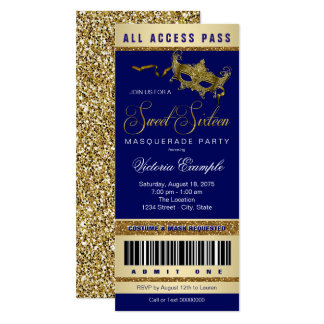 Blue Gold Sweet 16 Masquerade Party Ticket Card