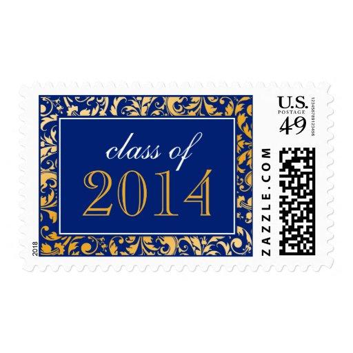 Blue Gold Swirl Damask Class of 2014 Graduation Stamps