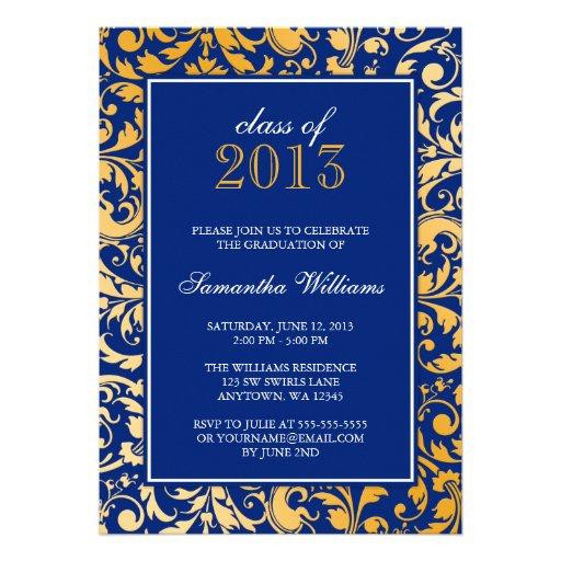 Blue Gold Swirl Damask Graduation Announcement