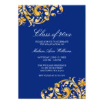 "Blue Gold Swirl Graduation Party Announcement 5"" X 7"" Invitation Card"