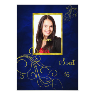 Blue Gold Swirl Photo Sweet 16 Card