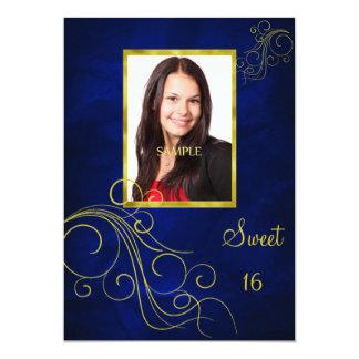 Blue Gold Swirl Photo Sweet 16 Card