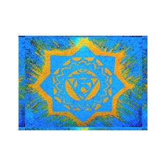blue gold tantric symbol canvas print