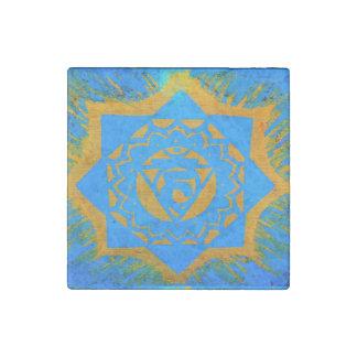 blue gold tantric symbol stone magnet