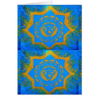 blue gold tantric symbols card