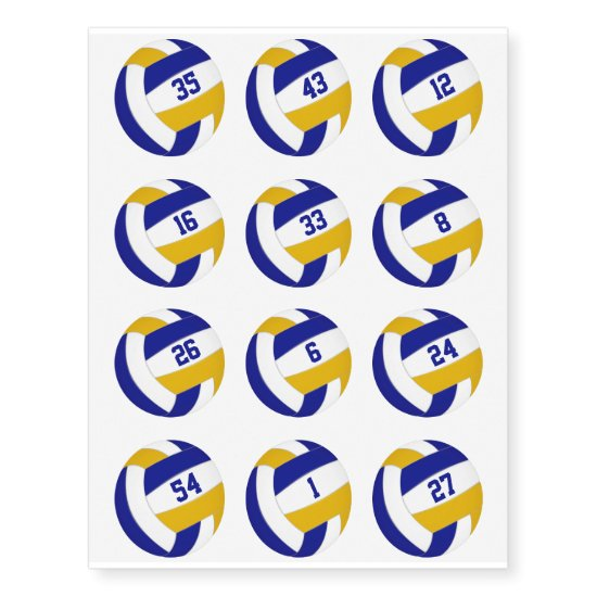 blue gold team color volleyballs w jersey numbers temporary tattoos