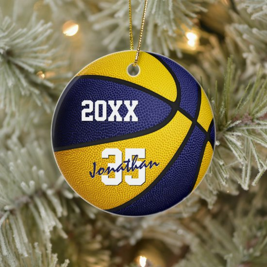blue gold team colors basketball keepsake ceramic ornament