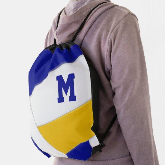 blue gold team colors girl boy monogram volleyball drawstring bag