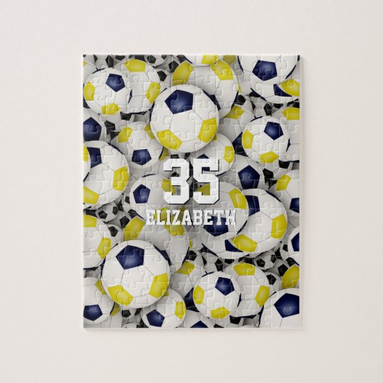 blue gold team colors girls boys soccer jigsaw puzzle