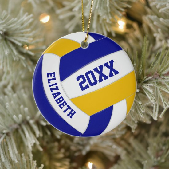 blue gold team colors girls boys sports volleyball ceramic ornament