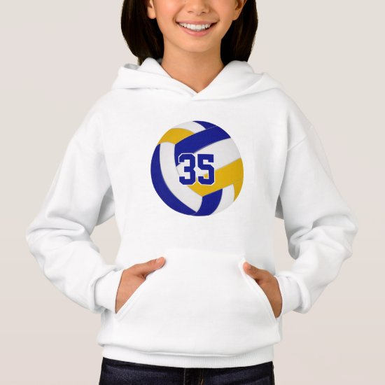 blue gold team colors jersey number volleyball hoodie