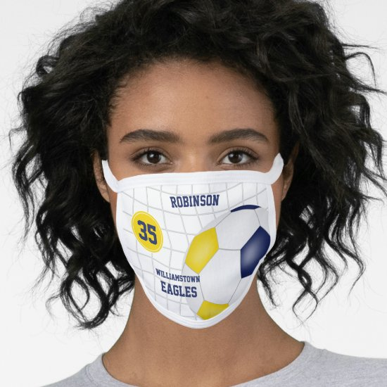blue gold team colors name jersey number soccer face mask